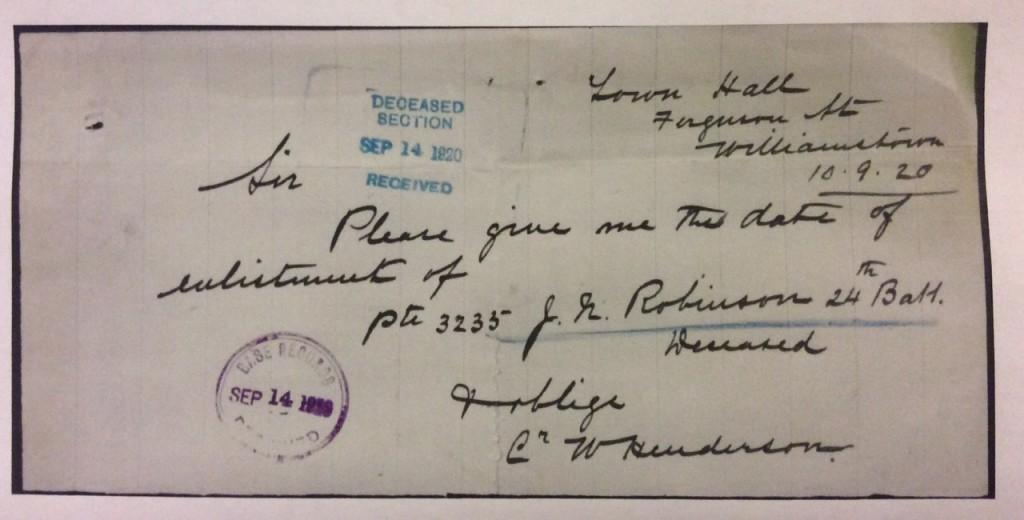 Letter from Henderson